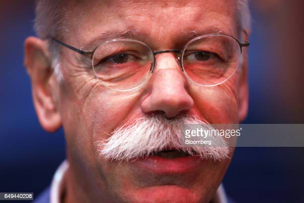 Dieter Zetsche chief executive officer of Daimler AG speaks during a Bloomberg Television interview on the first day of the 87th Geneva International...