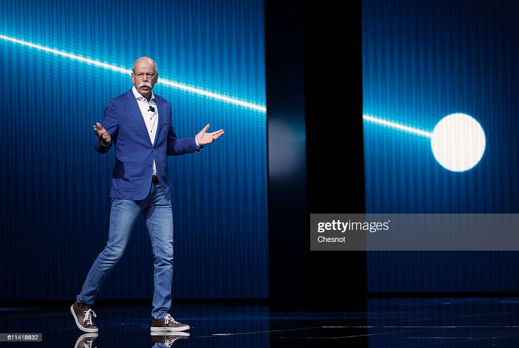Dieter Zetsche, chief executive officer of Daimler AG speaks on stage as he presents a new Mercedes-Benz Generation EQ concept sport-utility vehicle (SUV) during the press day of the Paris Motor Show on September 29, 2016, in Paris, France. The Paris Motor Show will showcase the latest models from the auto industry's leading manufacturers at the Paris Expo exhibition centre.