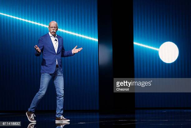 Dieter Zetsche chief executive officer of Daimler AG speaks on stage as he presents a new MercedesBenz Generation EQ concept sportutility vehicle...