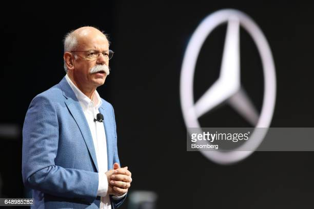 Dieter Zetsche chief executive officer of Daimler AG speaks on stage on the first day of the 87th Geneva International Motor Show in Geneva...