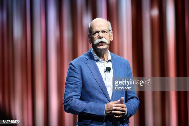 Dieter Zetsche chief executive officer of Daimler AG speaks on stage during the Daimler media night ahead of the IAA Frankfurt Motor Show in...