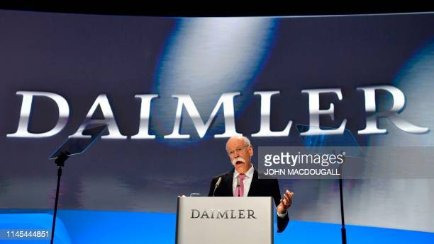 Dieter Zetsche outgoing CEO of German car maker Daimler addresses shareholders during Daimler's annual general meeting on May 22 2019 in Berlin...