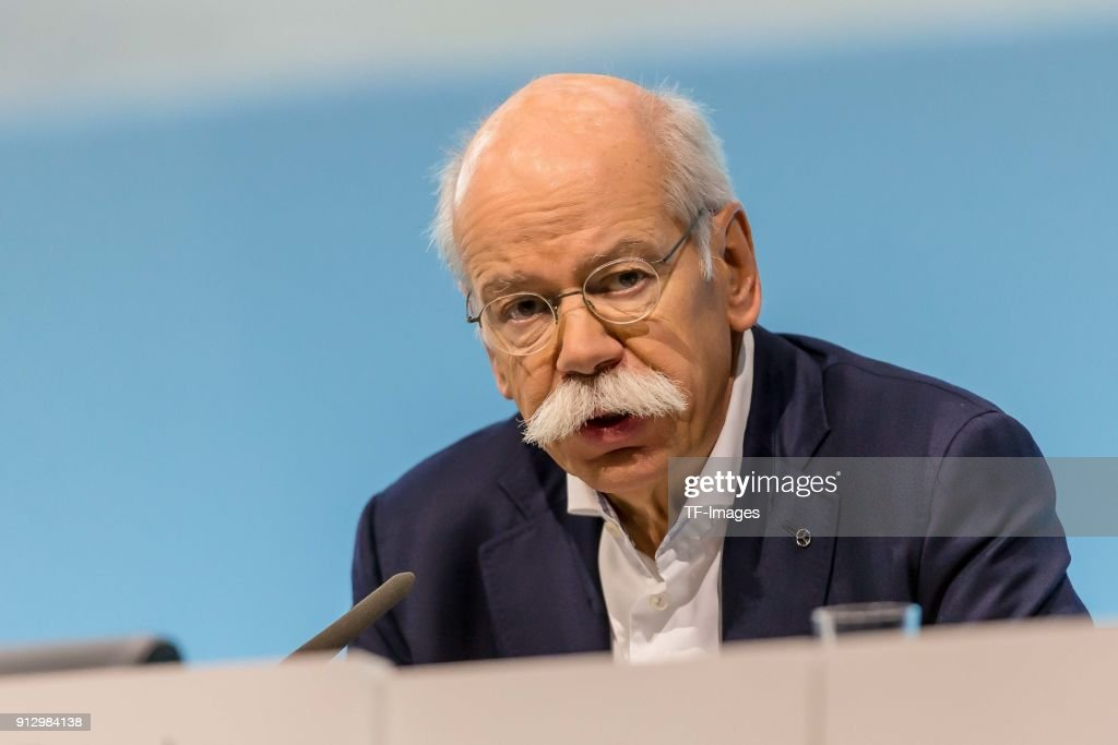 CEO Dieter Zetsche speaks during the annual results press conference of Daimler AG on February 01, 2018 in Stuttgart, Germany.
