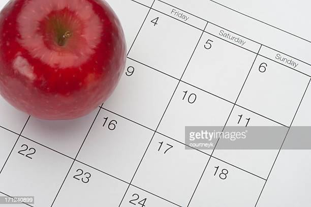 Dieting concept - Apple and Calendar