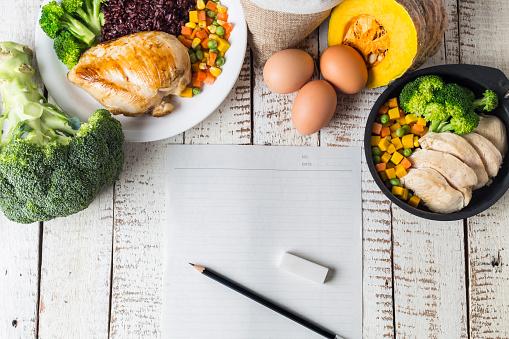 Dieting plan Healthy food and clean eating ingredients concept 972718416