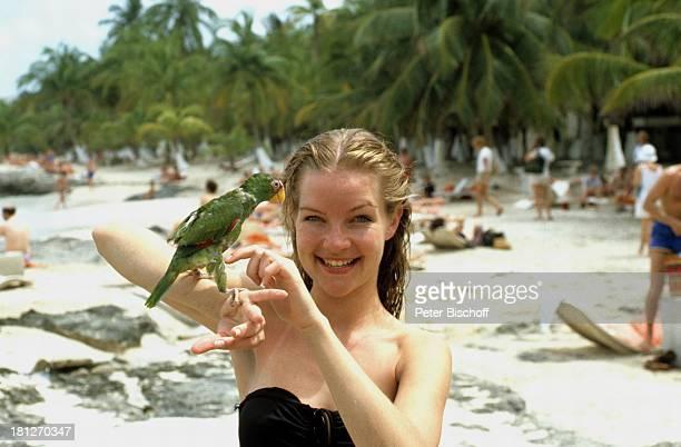 Dietlinde Turban mit Papagei ZDFReihe Traumschiff Folge 5 Karibik/Grenada Karibik Urlaub Badeanzug Strand Tier Vogel Palmen Touristen Liegen...
