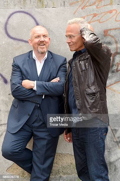 Dietmar Baer and Klaus J Behrendt during a photo call for the episode 'Tatort Wacht am Rhein' on August 1 2016 in Cologne Germany