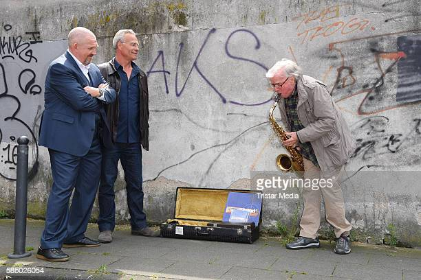 Dietmar Baer Klaus J Behrendt and Klaus Doldinger during a photo call for the episode 'Tatort Wacht am Rhein' on August 1 2016 in Cologne Germany
