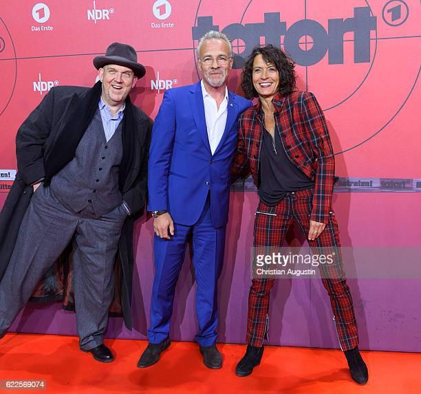 Dietmar Baer Klaus J Behrendt and Ulrike Folkerts attend celebration event of 1000 Episodes of the crime movie 'Tatort' at Cinemaxx Dammtor on...