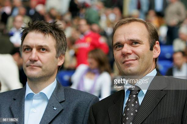 Dietmar Beiersdorfer and Bernd Hoffmann of Hamburg SV before the Bundesliga match between Hamburger SV and Schalke 04 at the AOL Arena on October 29,...