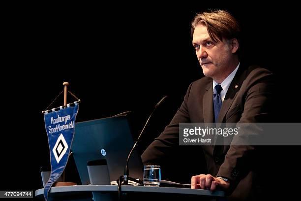 Dietmar Beiersdorfer CEO of Hamburger Sport Verein AG talks during Hamburger SV General Assembly at Imtech Arena on June 14, 2015 in Hamburg, Germany.
