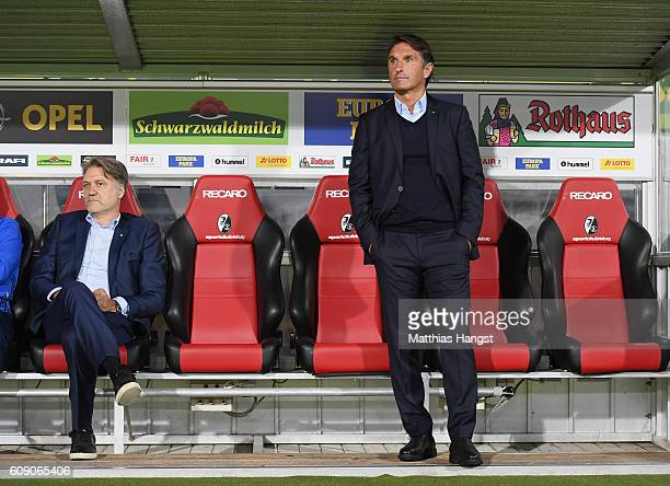 Dietmar Beiersdorfer CEO of Hamburger SV and Head coach Bruno Labbadia of Hamburg seen prior to the Bundesliga match between SC Freiburg and...