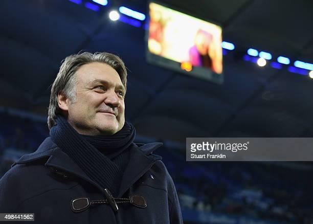 Dietmar Beiersdorfer, CEO of Hamburger SV looks on during the Bundesliga match between Hamburger SV and Borussia Dortmund at Volksparkstadion on...
