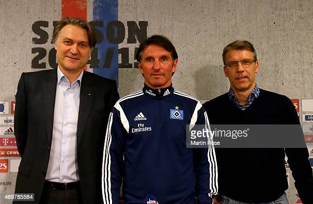 Dietmar Beiersdorfer chairman of Hamburger SV Bruno Labbadia new head coach of Hamburger SV and Peter Knaebel director of professional football pose...