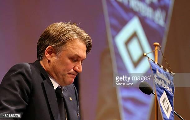 Dietmar Beiersdorfer, chairman of Hamburger SV talks during Hamburger SV General Meeting at Congress Center Hamburg on January 25, 2015 in Hamburg,...