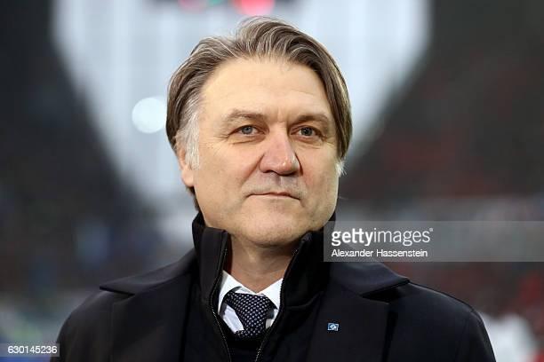 Dietmar Beiersdorfer, manager of Hamburg looks on prior to the Bundesliga match between 1. FSV Mainz 05 and Hamburger SV at Opel Arena on December...