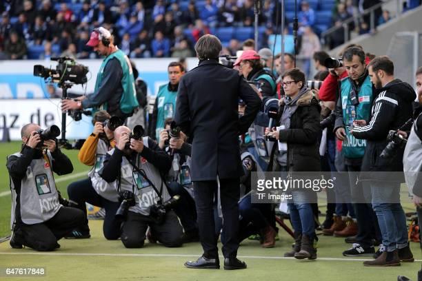Dietmar Beiersdorfer of Hamburg looks on during the Bundesliga match between TSG 1899 Hoffenheim and Hamburger SV at Wirsol Rhein-Neckar-Arena on...