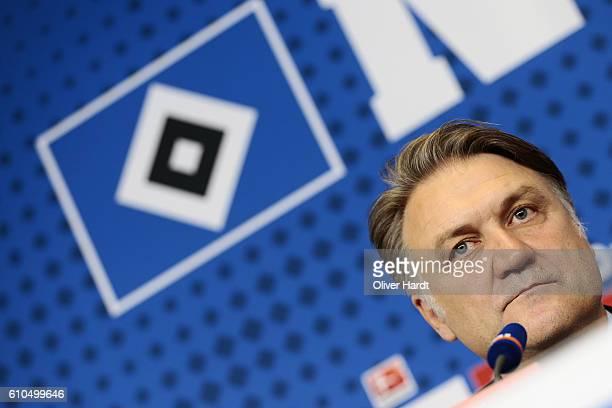 Dietmar Beiersdorfer of Hamburger Sport Verein speaks during the press conference New Signing Head Coach Markus Gisdol at Volksparkstadion on...
