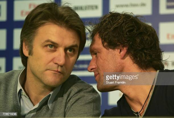 Dietmar Beiersdorfer, Sport Chief of Hamburger SV and Thomas Doll, Trainer of Hamburger SV during the press conference and training session of...
