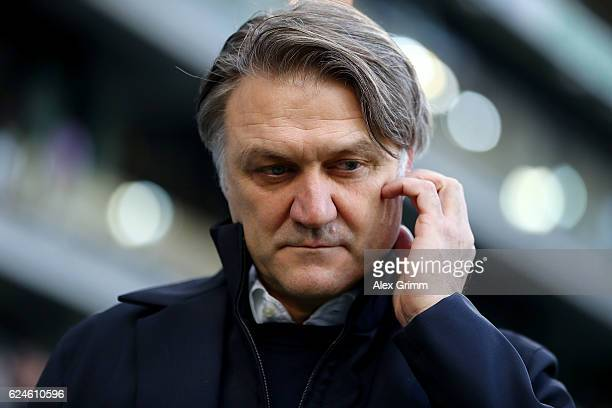 Dietmar Beiersdorfer, sport director of Hamburg looks on before the Bundesliga match between TSG 1899 Hoffenheim and Hamburger SV at Wirsol...