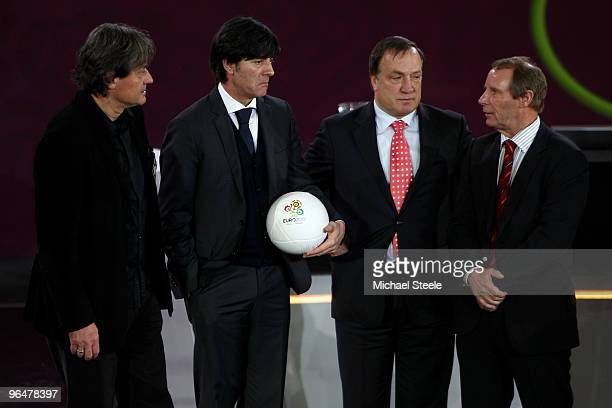 Dietmar Constantini coach of Austria Joachim Low coach of Germany Dick Advocaat coach of Belgium and Berti Vogts coach of Azerbaijan pose after being...