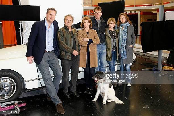 Dietmar Guentsche Wolfram Berger Senta Berger Nikolai Muellerschoen Cornelia Froboess and Patricia Aulitzky during the on set photo call for the film...