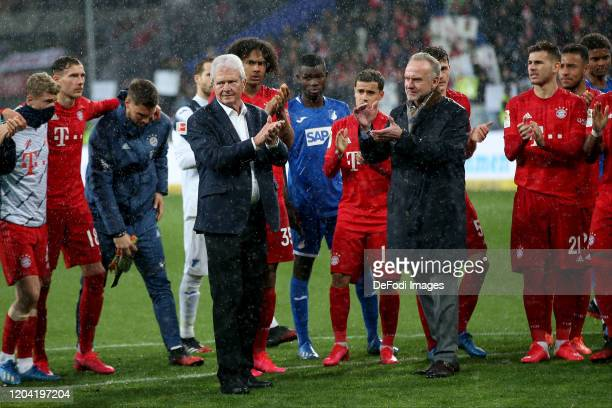 Dietmar Hopp and Chairman Karl-Heinz Rummenigge of FC Bayern Muenchen gestures after the Bundesliga match between TSG 1899 Hoffenheim and FC Bayern...