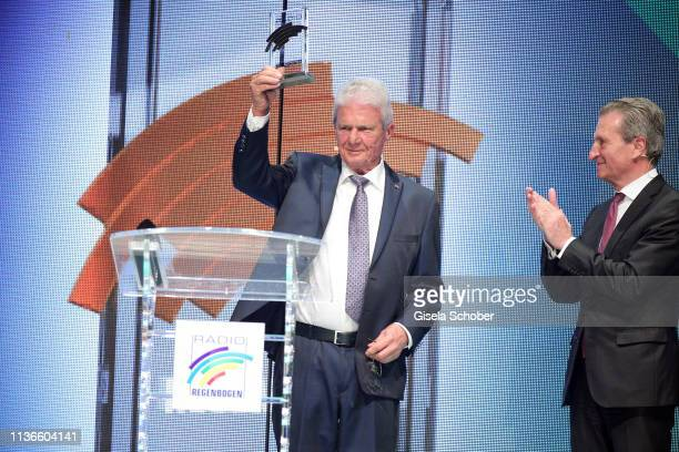 Dietmar Hopp and Guenther H Oettinger during the Radio Regenbogen Award at Europapark on April 12 2019 in Rust Germany