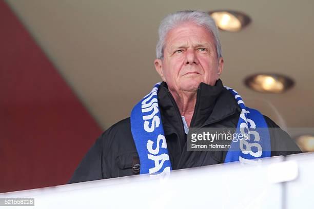 Dietmar Hopp attends the Bundesliga match between 1899 Hoffenheim and Hertha BSC at Wirsol RheinNeckarArena on April 16 2016 in Sinsheim Germany