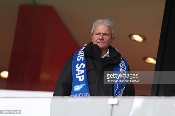Dietmar Hopp is seen prior to the Bundesliga match between TSG 1899 Hoffenheim and Fortuna Duesseldorf at PreZeroArena on February 2 2019 in Sinsheim...