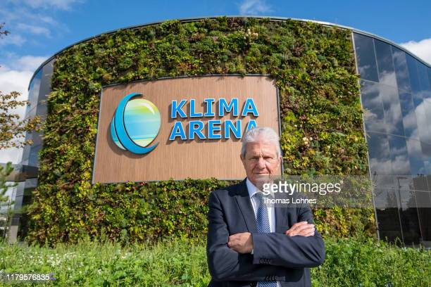 Dietmar Hopp pictured in front of the Klima Arena or Climate Arena on October 7 2019 in Sinsheim Germany The Climate Arena a project of the Dietmar...