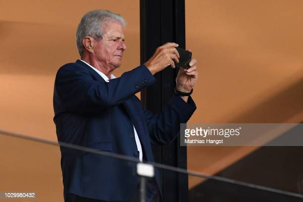 Dietmar Hopp takes a photo during the International Friendly match between Germany and Peru on September 9 2018 in Sinsheim Germany