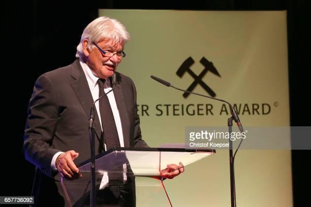Dietmar Ossenberg speaks the laudatio to the hope of peace award winner Mahmoud Abbas president of Palestina during the Steiger Award on at Coal Mine...