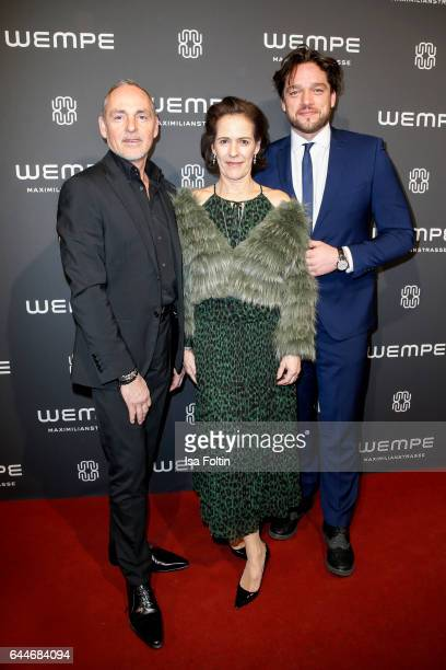Dietmar Schuelein KimEva Wempe and german actor Ronald Zehrfeld attend the Wempe store opening on February 23 2017 in Munich Germany