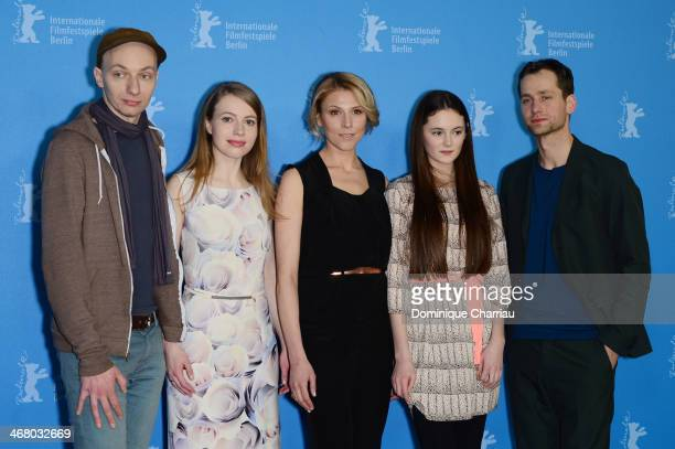 Dietrich Brueggemann, Anna Brueggemann, Franziska Weisz, Lea van Acken and Florian Stetter attend 'Stations of the Cross' photocall during 64th...