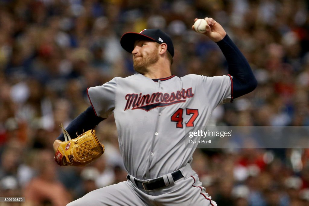 Dietrich Enns #47 of the Minnesota Twins pitches in the first inning against the Milwaukee Brewers at Miller Park on August 10, 2017 in Milwaukee, Wisconsin.