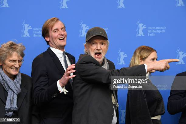 Dietrich Garstka Lars Kraume Michael Gwisdek and Lena Klenke pose at the 'The Silent Revolution' photo call during the 68th Berlinale International...