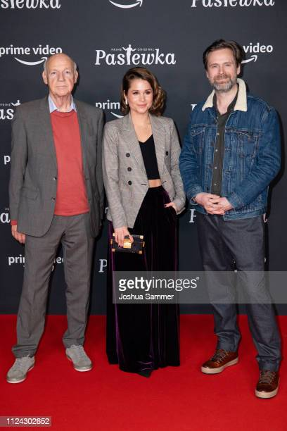 Dietrich Hollinderbaeumer, Cristina do Rego and Matthias Matschke attend the premiere of the Amazon series 'PASTEWKA' at Cinedom on January 23, 2019...