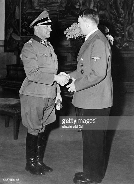 Dietrich Josef SSOffizier Germany *28051892 Commander of the SSDivision Leibstandarte Obergruppenfuehrer here Dietrich is awarded the Oak Leave...