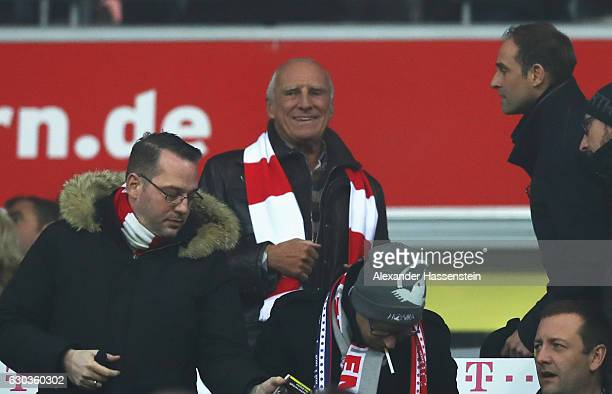 Dietrich Mateschitz founder of Red Bull and owner of Leipzig football club looks on from the stands during the Bundesliga match between Bayern...