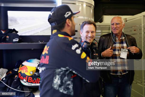 Dietrich Mateschitz Red Bull owner Red Bull Racing Team Principal Christian Horner and Daniel Ricciardo of Australia and Red Bull Racing talk in the...