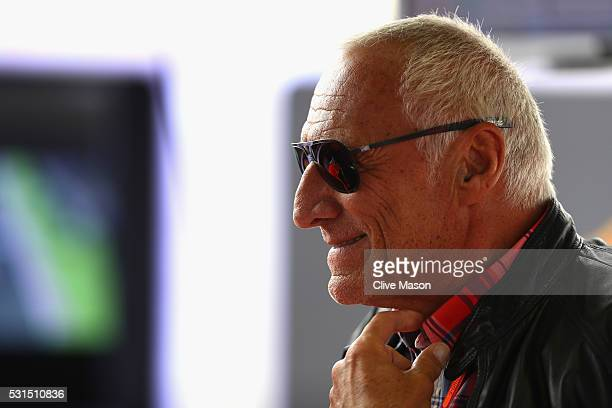 Dietrich Mateschitz Red Bull owner visits the Red Bull Racing garage ahead of the Spanish Formula One Grand Prix at Circuit de Catalunya on May 15...