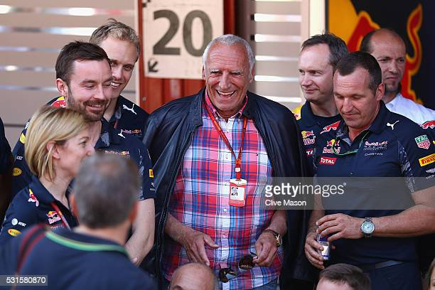 Dietrich Mateschitz Red Bull owner with the Red Bull Racing team in the Pitlane during the Spanish Formula One Grand Prix at Circuit de Catalunya on...