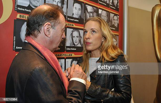 Dietrich Siegl and Lilian Klebow pose during the press conference for Kurier Romy Gala 2013 at Kempinsky Hotel Wien on March 6 2013 in Vienna Austria