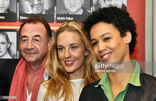 Dietrich Siegl Lilian Klebow and Claudia Unterweger pose during the press conference for Kurier Romy Gala 2013 at Kempinsky Hotel Wien on March 6...