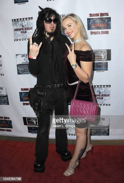 DieTrich Thrall and Alyssa Leonard arrive for the 'Clown Motel Spirit's Arise' Premiere held at Downtown Independent Theater on September 29 2018 in...