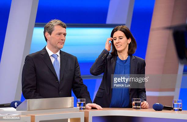 Dietrich Wersich of CDU and Katja Suding of FDP in a TV studio after the vote in Hamburg state elections on February 15 2015 in Hamburg Germany