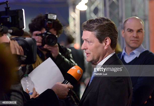 Dietrich Wersich of CDU stands in a TV studio after the vote in Hamburg state elections on February 15 2015 in Hamburg Germany