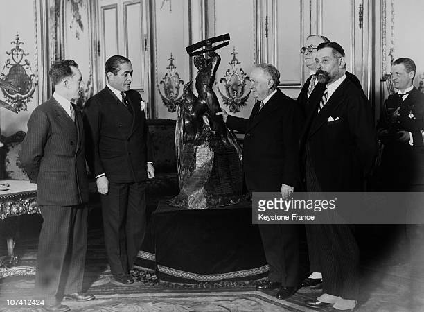 Dieudonne Coste And Maurice Bellonte Receiving Aviation Trophy