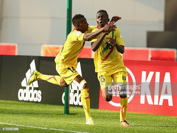 Dieudonne Gbakle of Mali celebrates after scoring a goal during the FIFA U20 World Cup New Zealand 2015 Group D match between Mexico and Mali at...